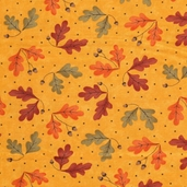 Grand Finale Fall Leaves Cotton Fabric - Goldenrod