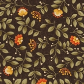 Grand Finale Seasonal Flowers Cotton Fabric - Walnut