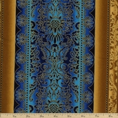 Robert Kaufman Grandeur 3 Stripe Cotton Fabric - Blue Spice