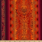 Robert Kaufman Grandeur 3 Stripe Cotton Fabric - Red Jewel
