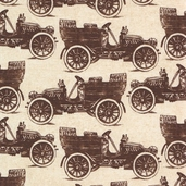 Grandma's House Cotton Fabric - Car Cream