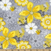 Gray Matters Floral Cotton Fabric - Yellow 4140401-01