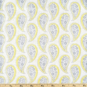Gray Matters Paisley Cotton Fabric - White 4140402-03