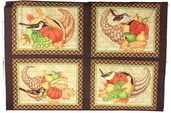 Great Harvest Cotton Fabric - Cornucopia Frames Panel - Chocolate