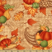 Great Harvest Cotton Fabric - Cornucopia - Tan