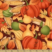 Great Harvest Cotton Fabric - Stacked Veggies - Brown