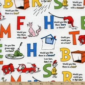 Green Eggs and Ham Letters Cotton Fabric - Celebration ADE-13703-203 CELEBRATION