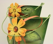 Green Metal Flower Buckets - Set of 2- Clearance