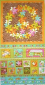 Groovy Peach Panel Cotton Fabric - Multi