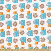 Grow with Me Cotton Fabric - Creamisicle Orange Trucks