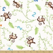 Grow with Me Cotton Fabric - Creamy White Monkeys