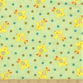 Grow with Me Cotton Fabric - Grass Green Ducks