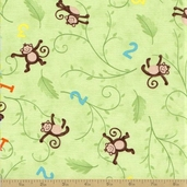 Grow with Me Cotton Fabric - Grass Green Monkeys