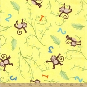 Grow with Me Cotton Fabric - Yellow Monkeys