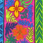 Guatemalan Flora Cotton Fabric - Bright Border