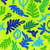 Guatemalan Flora Cotton Fabric - Bright Leaves - CLEARANCE