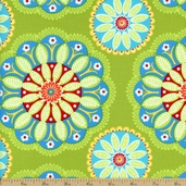 Gypsy Bandana Kaleidoscope Cotton Fabric - Green DC4612-GREE-D