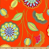 Gypsy Flower Cotton Fabric - Orange DC4614-ORAN-D