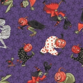 Halloween Dance Cotton Fabric - Purple