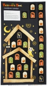 Halloween Hoot Calendar Panel Cotton Fabric - Black