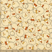 Halloween Hoot Candy Corn Cotton Fabric - Tan