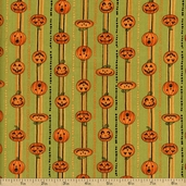 Halloween Hoot Jack-O-Lantern Cotton Fabric - Green