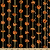 Halloween Hoot Jack-O-Lantern Stripe Cotton Fabric - Black
