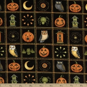 Halloween Hoot Patchwork Cotton Fabric - Black