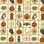 Halloween Hoot Patchwork Cotton Fabric - Ivory