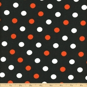 Halloween Multi Dots Cotton Fabric - Orange Crush