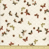 Hanabi Cotton Fabric - Butterfly Toss - Cream