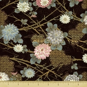 Hanabi Cotton Fabric - Floral - Brown
