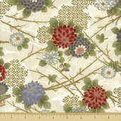 Hanabi Cotton Fabric - Floral - Cream