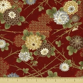 Hanabi Cotton Fabric - Floral - Red