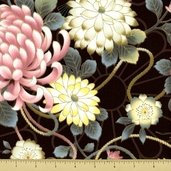 Hanabi Cotton Fabric - Large Floral - Brown