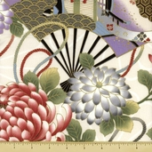 Hanabi Cotton Fabric - Large Floral - Cream