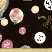 Hanabi Cotton Fabric - Medallion Floral - Brown