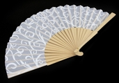 Hand Fans Wood and Fabric - 8pc