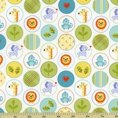 Happi Animal Circles Cotton Fabric - Blue PWDF150