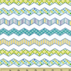 Happi Chevron Stripe Cotton Fabric - Blue PWDF145