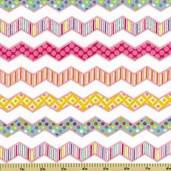Happi Chevron Stripe Cotton Fabric - Pink PWDF145
