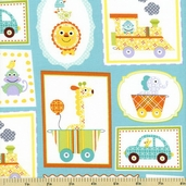 Happi Circus Frames Cotton Fabric - Blue PWDF151