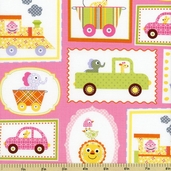 Happi Circus Frames Cotton Fabric - Pink PWDF151