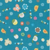 Happier Cotton Fabric - Blue