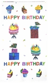 Happy Birthday Panel Cotton Fabric - White 5874-M - CLEARANCE