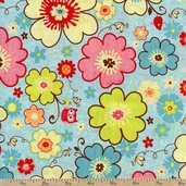 Happy Flappers Main Cotton Fabric - Blue