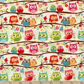 Happy Flappers Owl Cotton Fabric - Cream