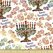 Happy Hanukkah Cotton Fabric - Menorah Toss - Celebration