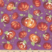 Happy Haunting Pumpkins Cotton Fabric - Purple