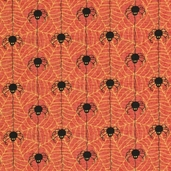 Happy Haunting Spiderwebs Cotton Fabric - Orange